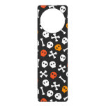Orange Red and White Cartoon Skulls Door Hanger