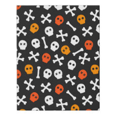 Orange Red and White Cartoon Skulls Faux Canvas Print