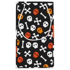 Orange Red and White Cartoon Skulls Small Gift Bag