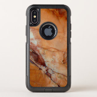 Orange Red and White Veined Marble OtterBox Commuter iPhone X Case