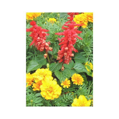 Orange/Red and Yellow Flowers Canvas Print