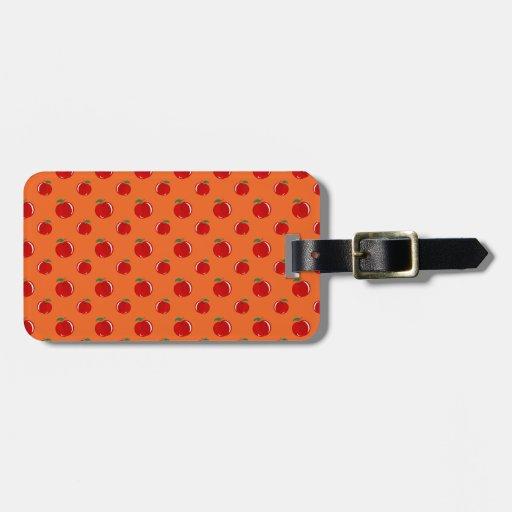 Orange red apple pattern luggage tags