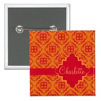 Orange & Red Arabesque Moroccan Graphic 2 Inch Square Button