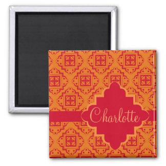 Orange & Red Arabesque Moroccan Graphic 2 Inch Square Magnet