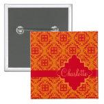 Orange & Red Arabesque Moroccan Graphic Button