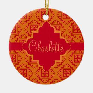 Orange & Red Arabesque Moroccan Graphic Ceramic Ornament