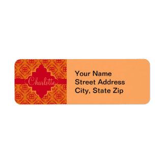 Orange & Red Arabesque Moroccan Graphic Label