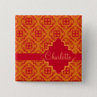 Orange & Red Arabesque Moroccan Graphic Pinback Button