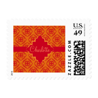 Orange & Red Arabesque Moroccan Graphic Postage