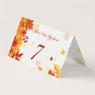 Orange red autumn leaves Table number, place card