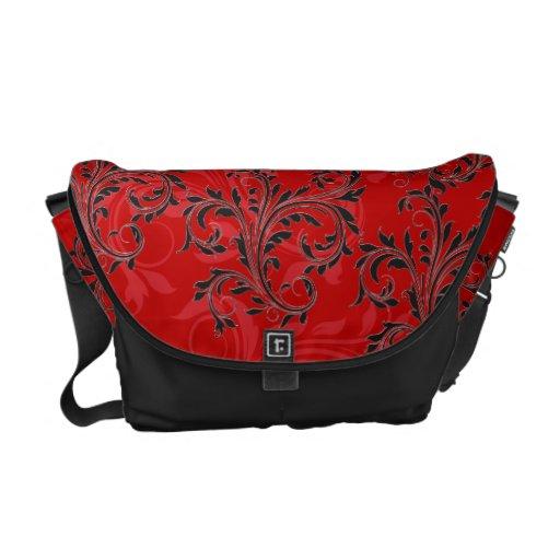 Orange-Red Black Ornate Scrolls Messenger Bag
