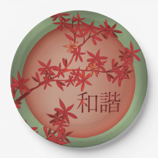 "Orange red blossom and moon ""Harmony"" Paper Plate"