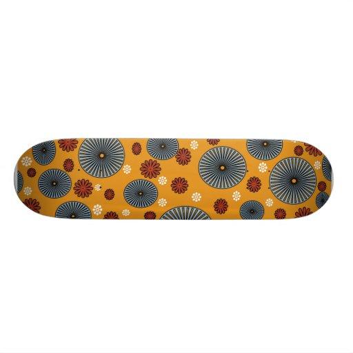 Orange red blue skate deck