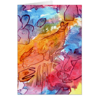 Orange red blue watercolour abstract background stationery note card