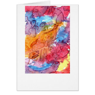 Orange red blue watercolour abstract background greeting card