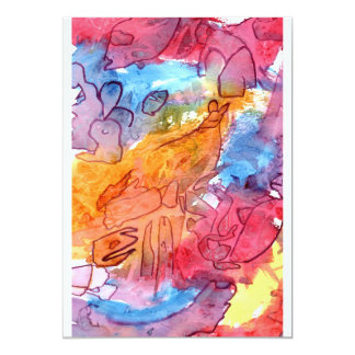 Orange red blue watercolour abstract background 5x7 paper invitation card