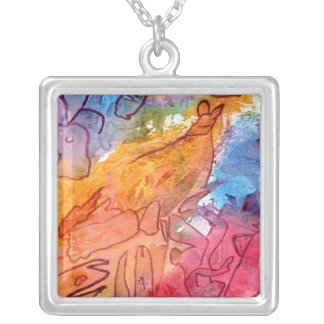 Orange red blue watercolour abstract background square pendant necklace