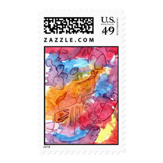 Orange red blue watercolour abstract background postage stamp