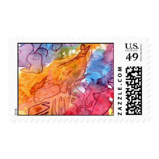 Orange red blue watercolour abstract background postage stamps