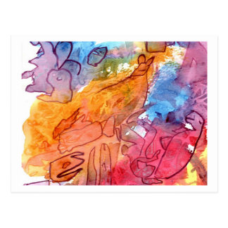 Orange red blue watercolour abstract background postcard