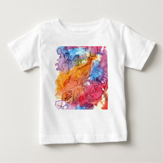 Orange red blue watercolour abstract background shirt