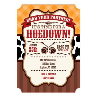 Orange Red Brown Hoedown Party Invitation