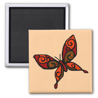 Orange red butterfly magnet