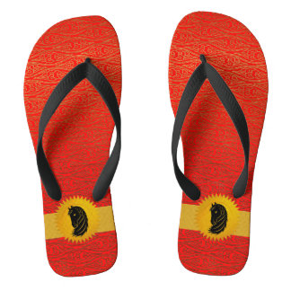 Orange Red Chinese Zodiac Year Of the Horse Flip Flops