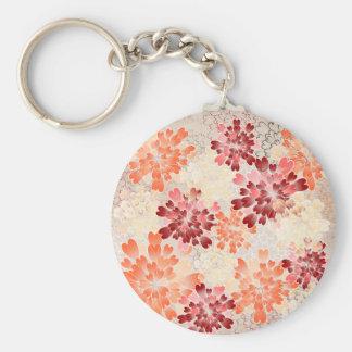 Orange Red & Cream Flowers Retro Basic Round Button Keychain