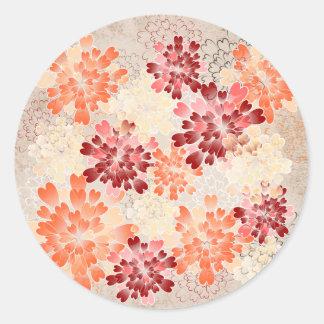 Orange Red & Cream Flowers Retro Round Sticker