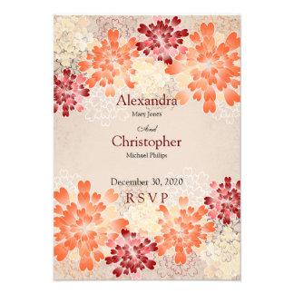 Orange Red & Cream Flowers Retro Wedding RSVP Invitations