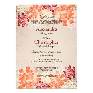 Orange Red & Cream Flowers Retro Wedding S3 Invitation