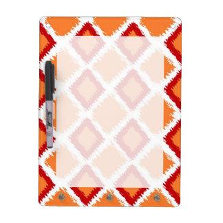 Orange Red Diamond Ikat Pattern Dry Erase Board