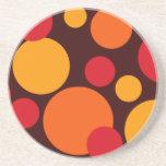Orange & Red Dots Beverage Coaster