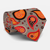 Orange red elegant vintage paisley pattern neck tie