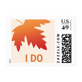 Orange red fall autumn leaf wedding I Do Postage
