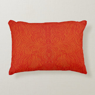 Orange Red Faux Leather Pattern-Embossed Floral Decorative Pillow