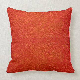 Orange Red Faux Leather Pattern-Embossed Floral Throw Pillow