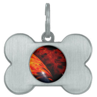 Orange Red Flames Paint Classic Car Bumper Pet ID Tag