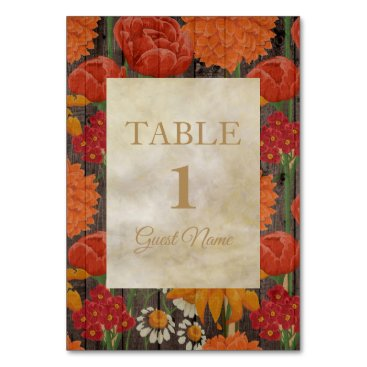 Wedding Themed Orange Red Floral Rustic Brown Wood Place Card