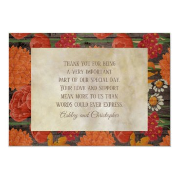Wedding Themed Orange Red Floral Rustic Brown Wood  Thank You Card