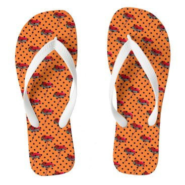 Beach Themed Orange red flower and black polka dots flip flops