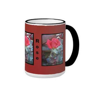 Orange Red Flower Ringer Coffee Mug