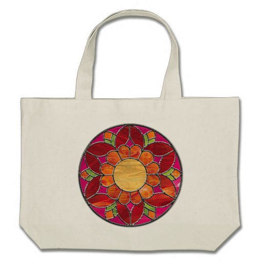 Orange & Red Flower Stained Glass Look Bags