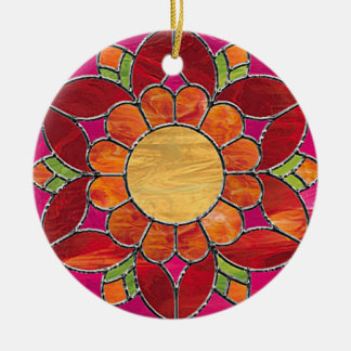 Orange & Red Flower Stained Glass Look Ceramic Ornament