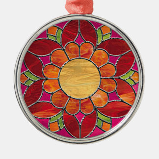 Orange & Red Flower Stained Glass Look Metal Ornament