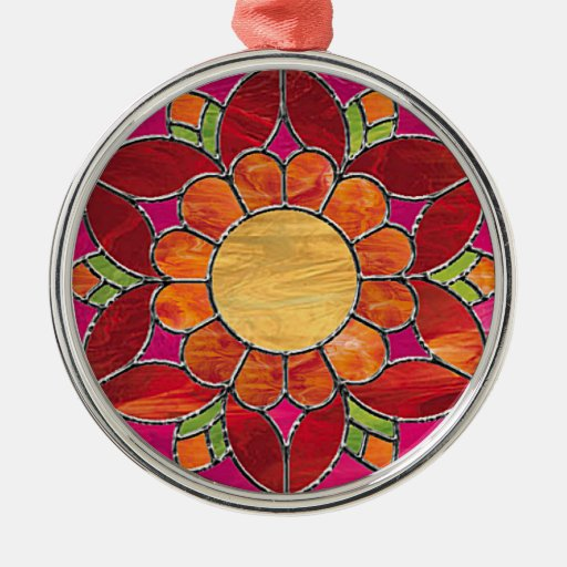 Orange & Red Flower Stained Glass Look Christmas Ornament