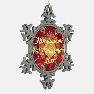 Orange & Red Flower Stained Glass Look Snowflake Pewter Christmas Ornament
