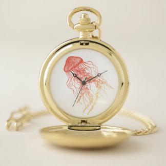 Orange Red Jellyfish Pocket Watch
