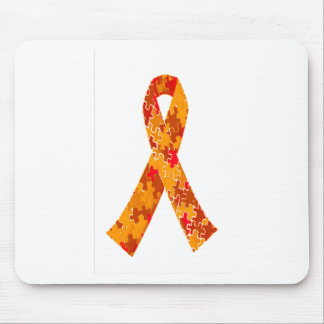 Orange Red Jigsaw Puzzle Pattern Ribbon Mouse Pad